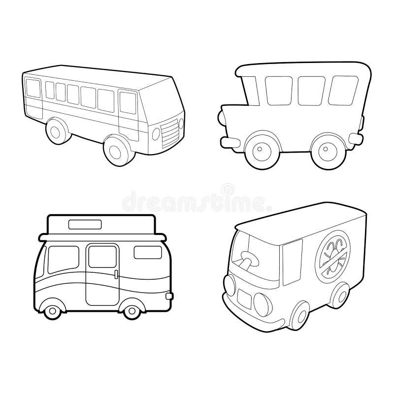 Busssymbolsuppsättning, översiktsstil royaltyfri illustrationer