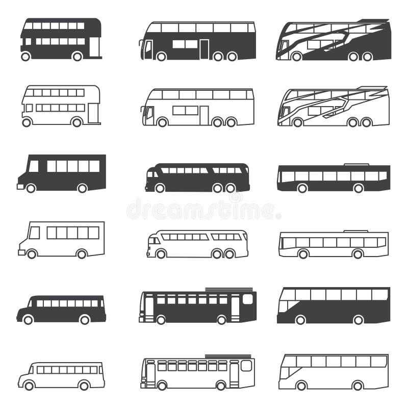 Busssymbolsuppsättning royaltyfri illustrationer