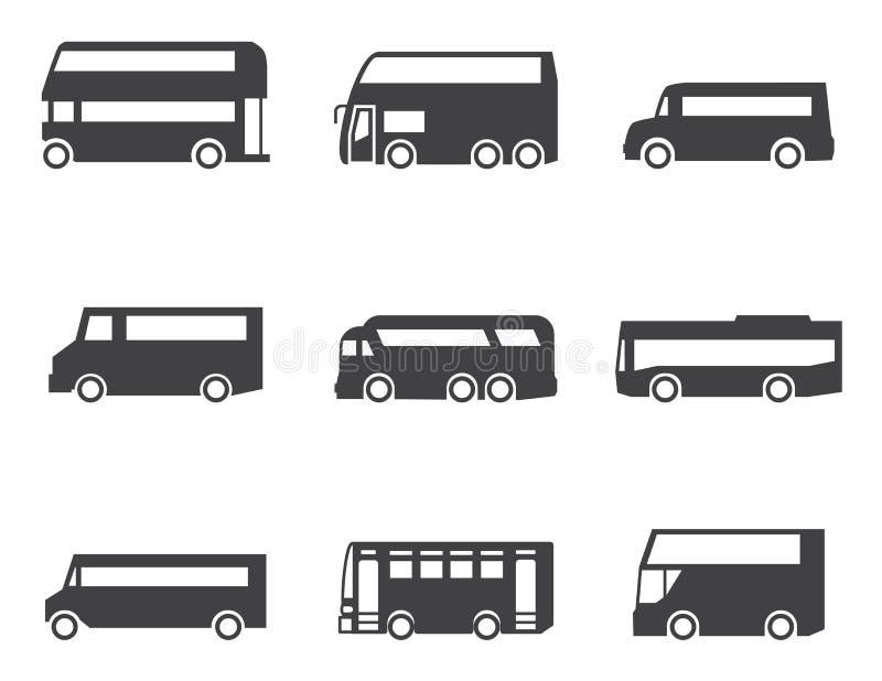 Busssymbolsuppsättning stock illustrationer