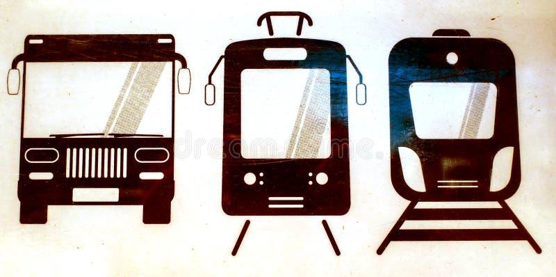 Busståg- och spårstoppskylt i svartvitt arkivbild