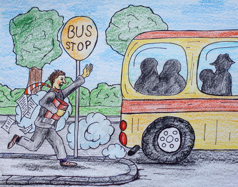 Busstation stock illustratie