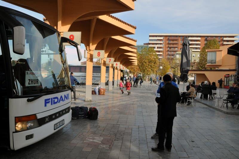 Busstation in Prizren-stad, Kosovo stock afbeelding