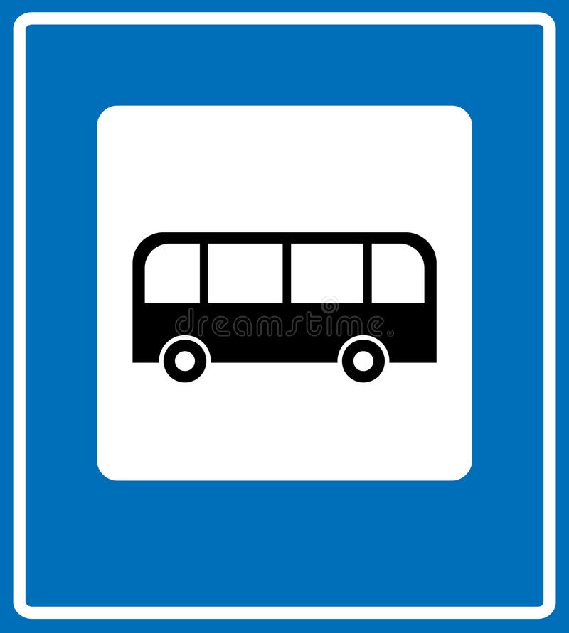 Busstoppschild, VerkehrsVerkehrsschild lizenzfreie abbildung