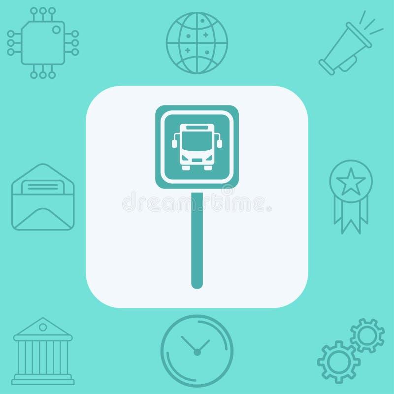 Busstoppschildvektorikonen-Zeichensymbol vektor abbildung