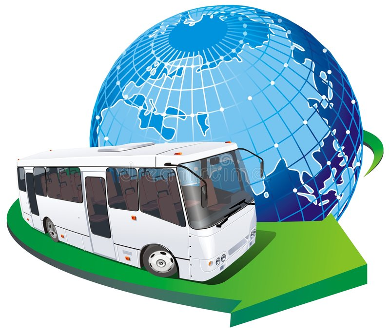 bussturistvektor stock illustrationer
