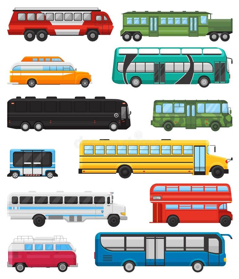 Bussvektorkollektivtrafik turnerar eller stadsmedlet som transporterar passagerareschoolbus och den transportable bilillustration royaltyfri illustrationer