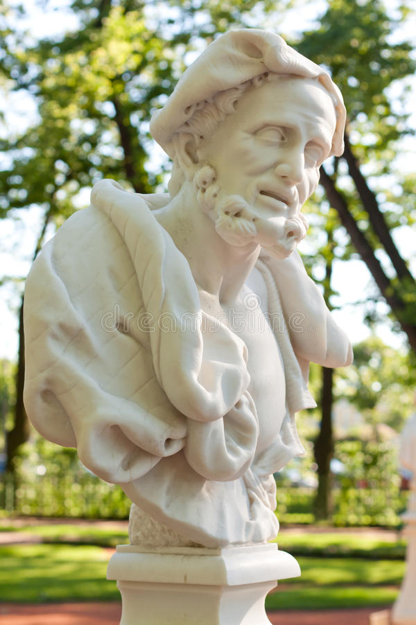 Bust of Aristotle. Sculptor O.Marinali, Italy, the beginning of the XVIII century (copy). Marble. In park Summer Garden in St. Petersburg, Russia stock photography