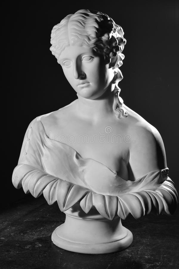 Bust in black and white.  stock images