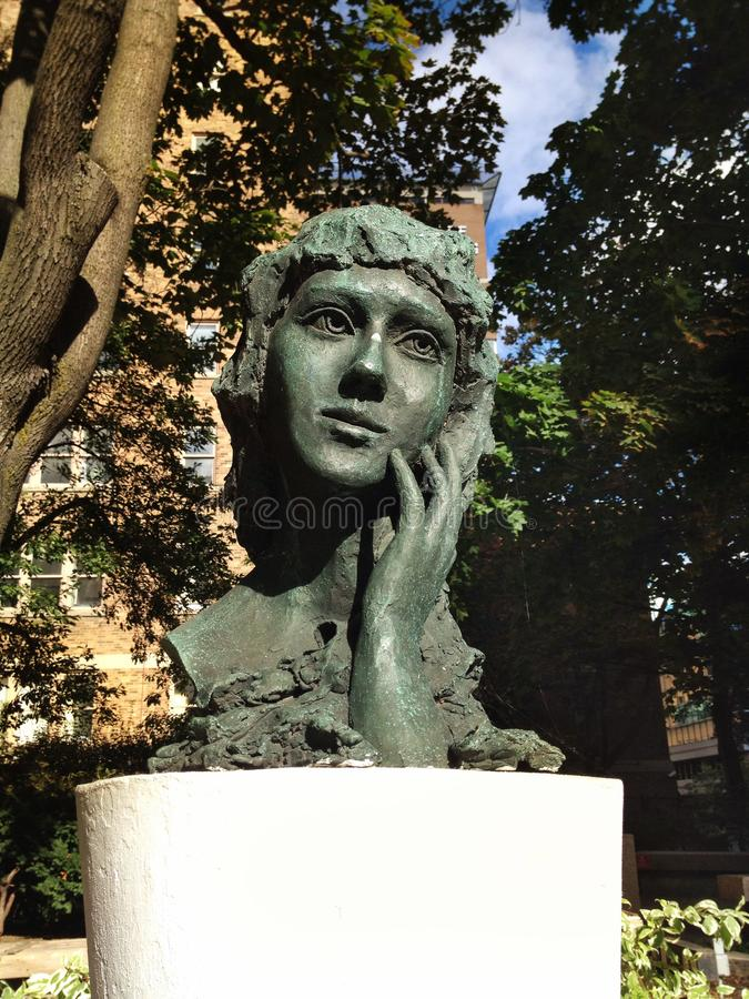 Bust of Canadian-born American film actress and producer Mary Pickford in Toronto stock images