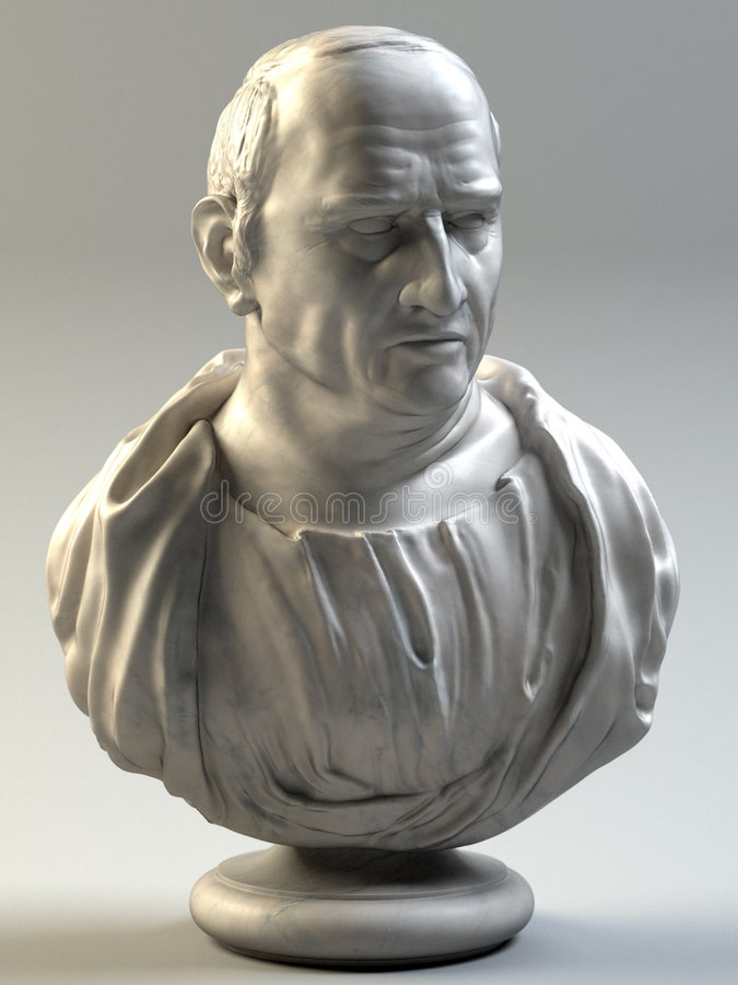 Bust of Cicero. Bust of the Roman philosopher modeled in the ZBrush software stock illustration