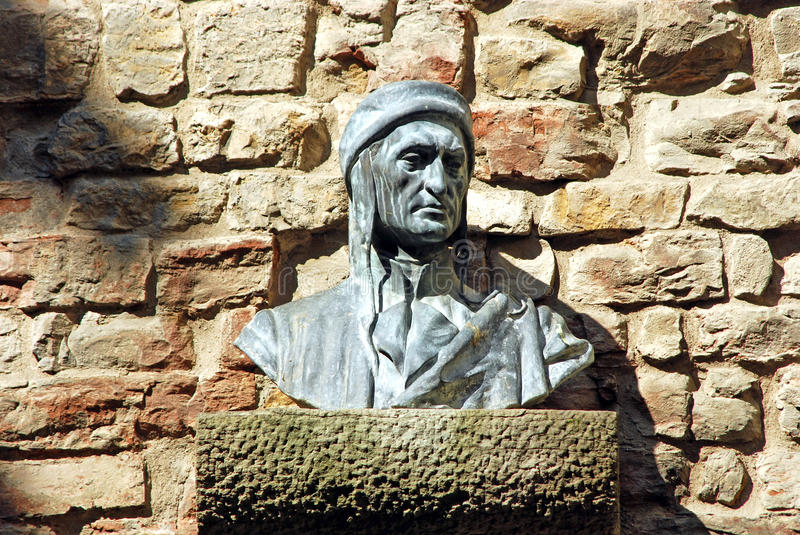 Bust of Dante in an alley in Florence - Tuscany - Italy. Bust of Dante Alighieri in an small alley in Florence stock photography