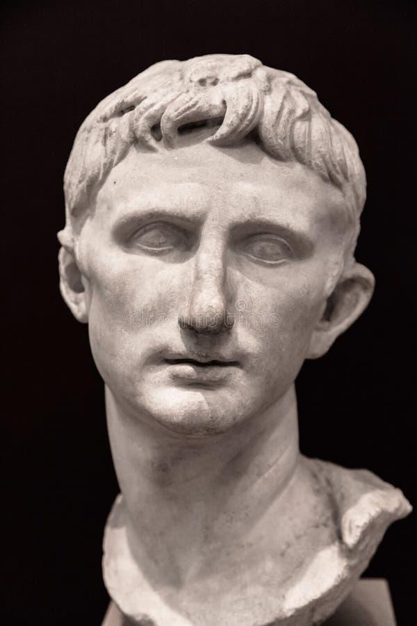 Bust of Emperor Augustus stock photo