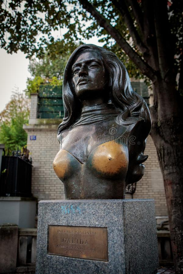 Bust of the famous French singer Dalida stock photos