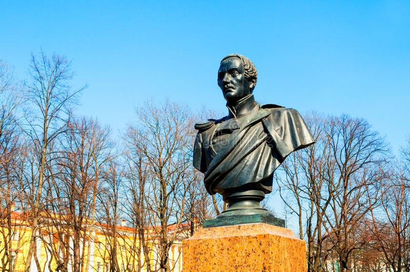 Bust of the famous Russian writer and poet Mikhail Lermontov in Alexander Garden in St Petersburg, Russia royalty free stock photography