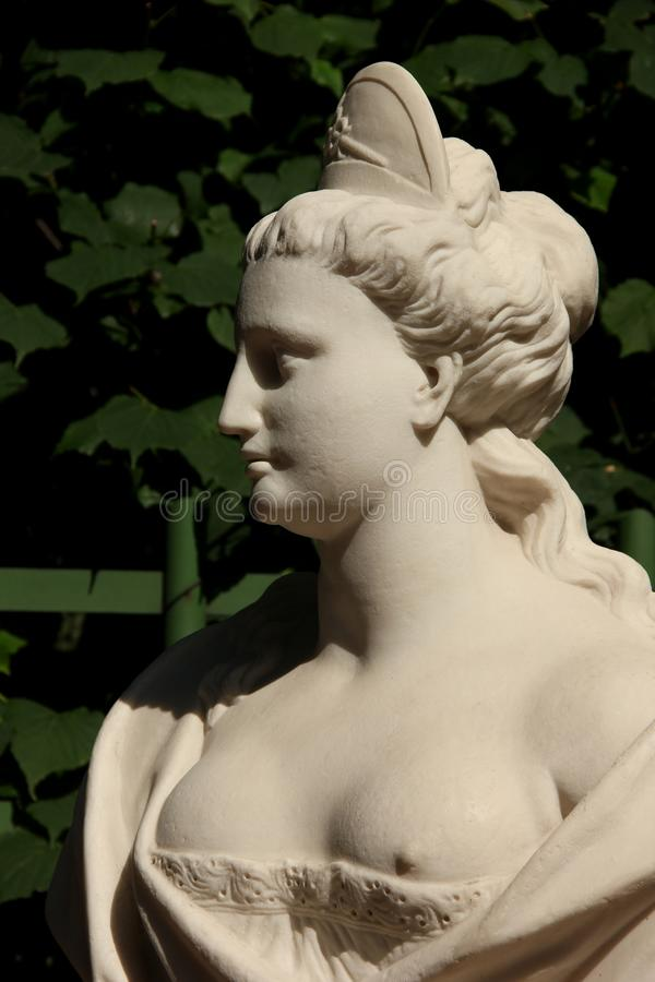 Bust. A female Bust in the summer gardens of Saint Petersburg, Russia royalty free stock images