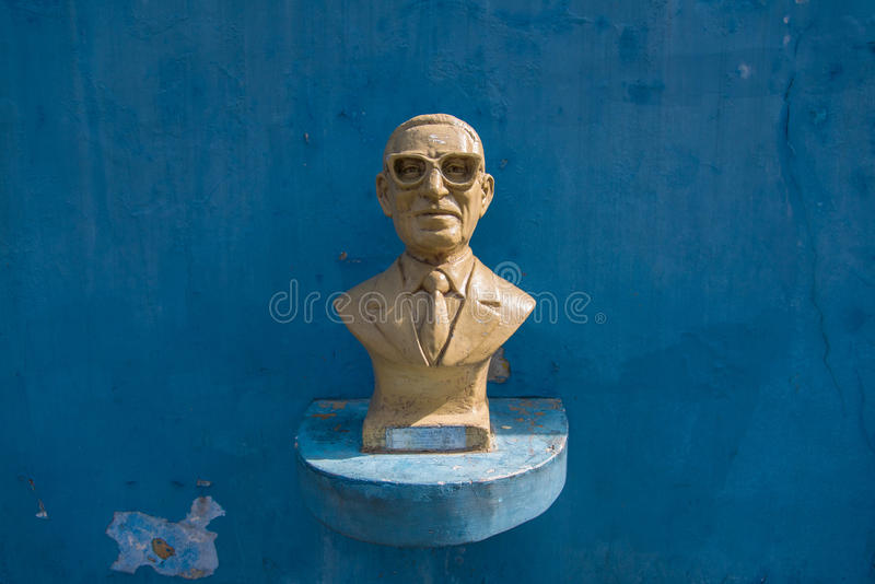 Bust of Gabino Coria Penaloza. BUENOS AIRES, ARGENTINA - OCT 31, 2015: Bust of Gabino Coria Penaloza, made by Euzer Diaz and placed along Buenos Aires, Caminito royalty free stock photo