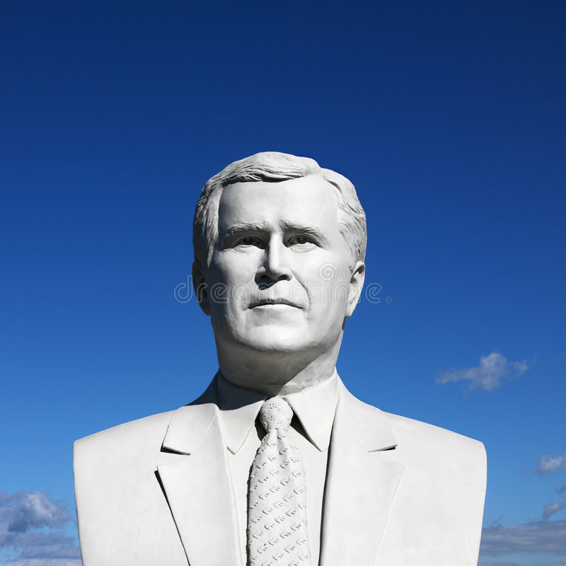Bust of George Bush sculpture in President's Park, Black Hills, royalty free stock images