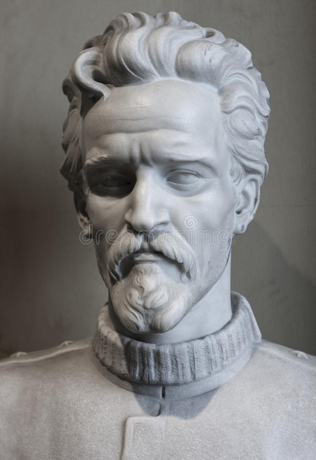 Bust of Gold Medal Recipient Cesare Battisti. The half-length statue in honor of the gold medal of Cesare Battisti. Artist: Emanuele Zambini. In Victorian museum stock photos