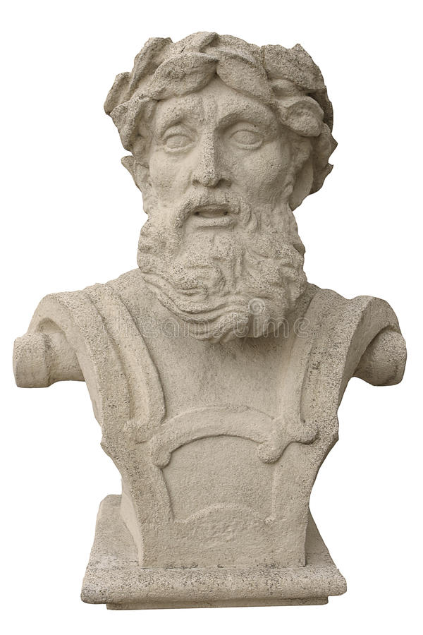 Bust heads. Ancient bust of the head of the old philosopher royalty free stock photo