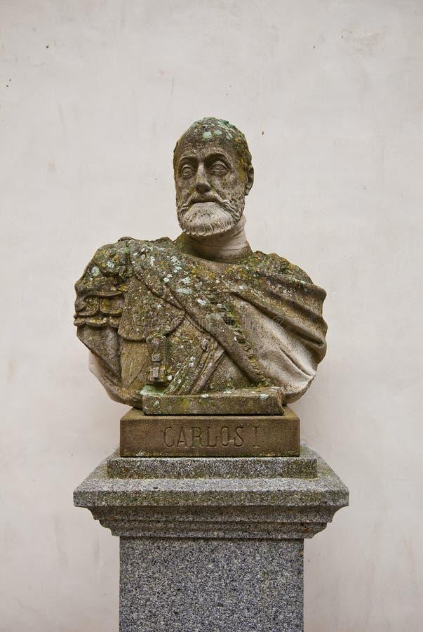 Bust of Holy Roman Emperor Charles V in Alcazar castle, Segovia stock images