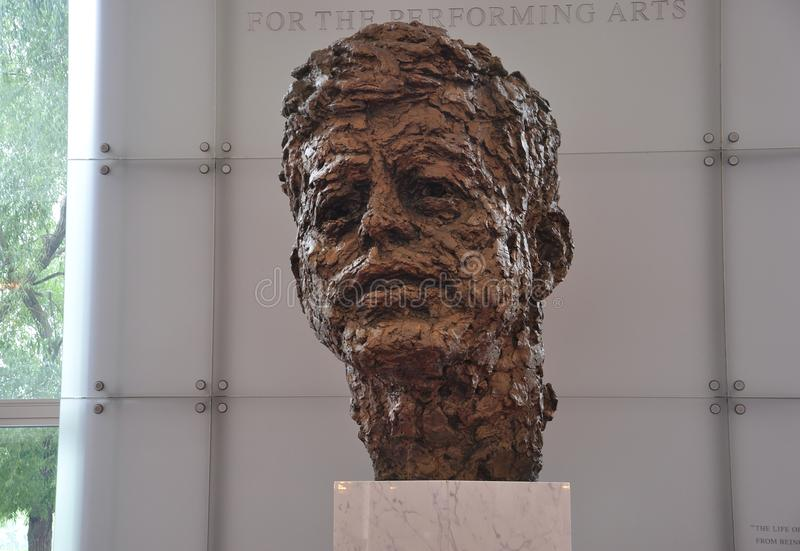 Bust of John F Kennedy by Robert Berks in the Kennedy Center Memorial from Washington District of Columbia USA royalty free stock photography