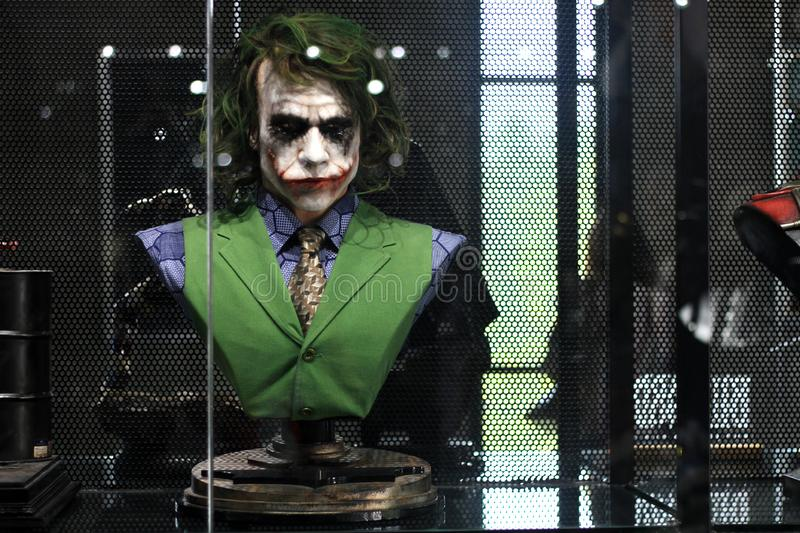 Bust Joker Figure Model on display at The M Cafe royalty free stock photography