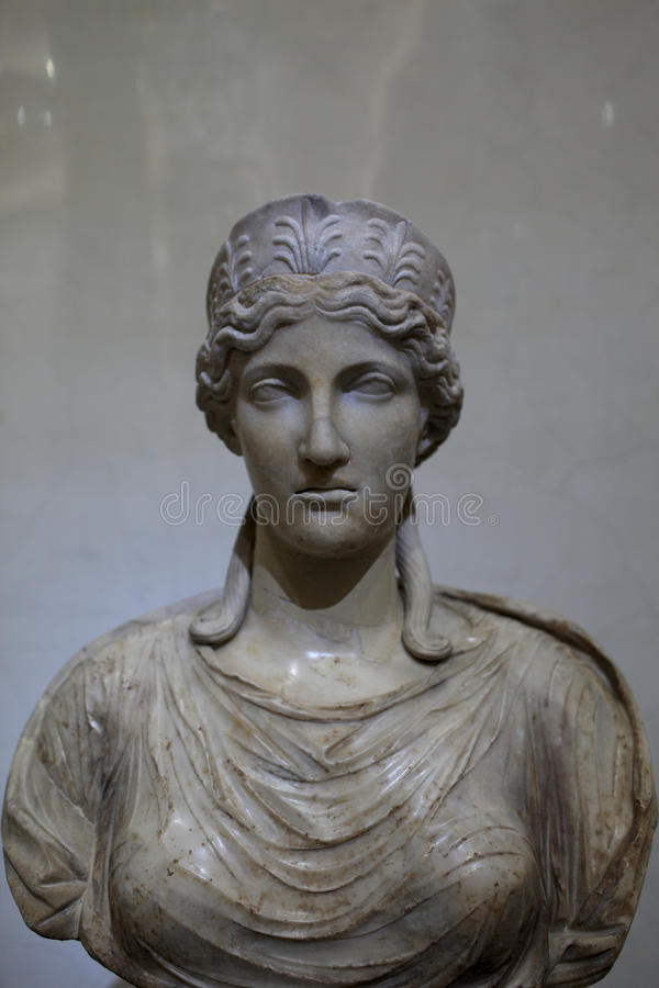 Bust of Nike. In Greek mythology, She was a goddess who personified victory, also known as the Winged Goddess of Victory. Ancient Rome, second half of the 2nd stock photos