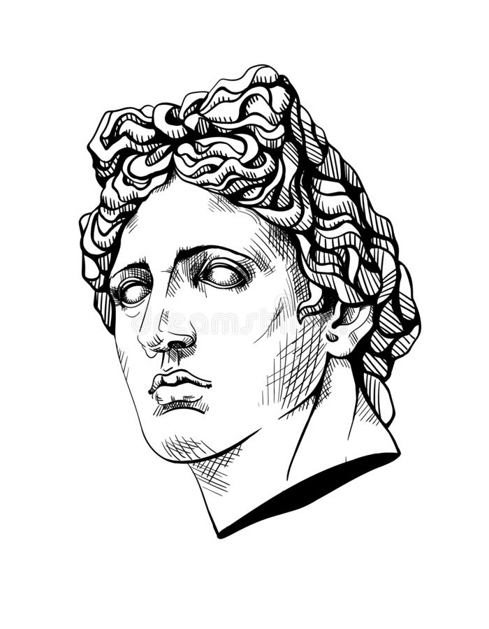 Free Bust Of Apollo, The Ancient Greek God. Linear Contour Sketch Of Marble Greece Or Rome Statue. Ink Line Drawing Art Sculpture. Stock Images - 184426964