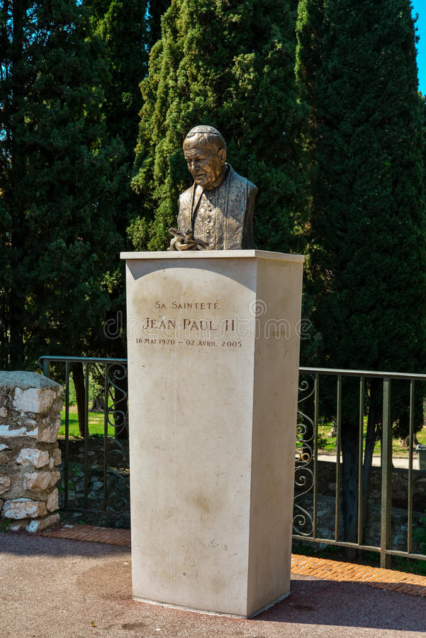 Bust of Pope John Paul II stock photos