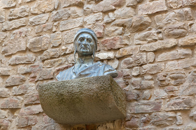Bust sculpture of Dante Alighieri's head shoulders chest on br stock images