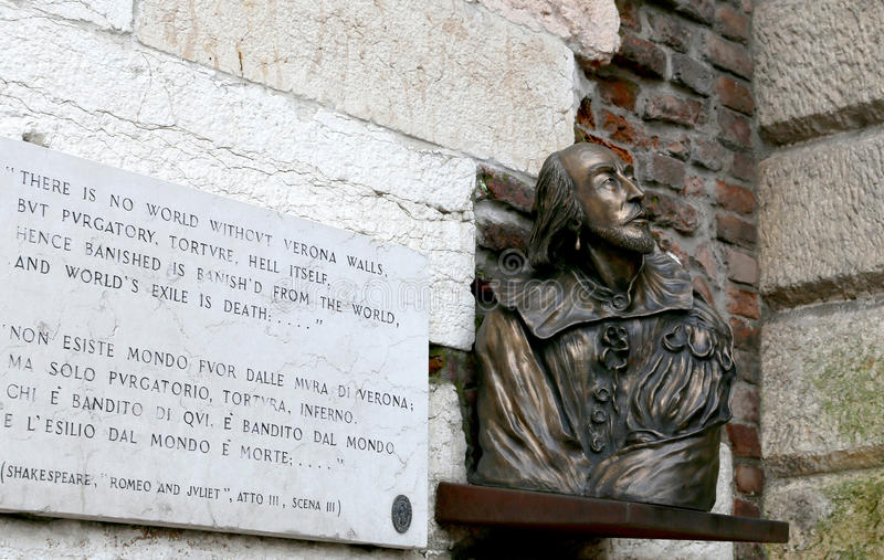 Bust of Shakespeare in Verona royalty free stock images