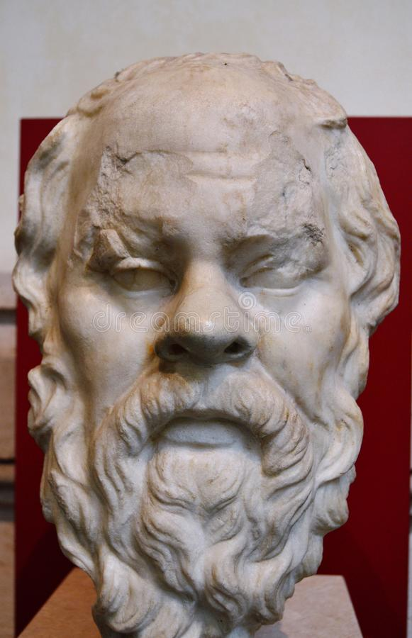 Bust of Socrates. Ancient sculptural bust of the famous philosopher Socrates, as seen in the National Roman Museum in Rome, Italy royalty free stock photography
