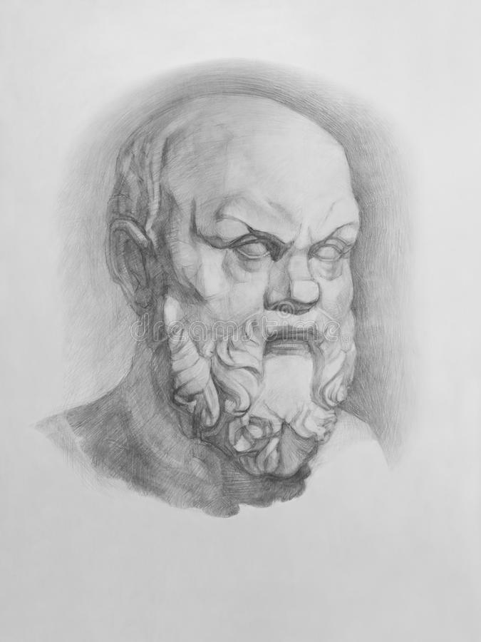 Bust of Socrates stock illustration