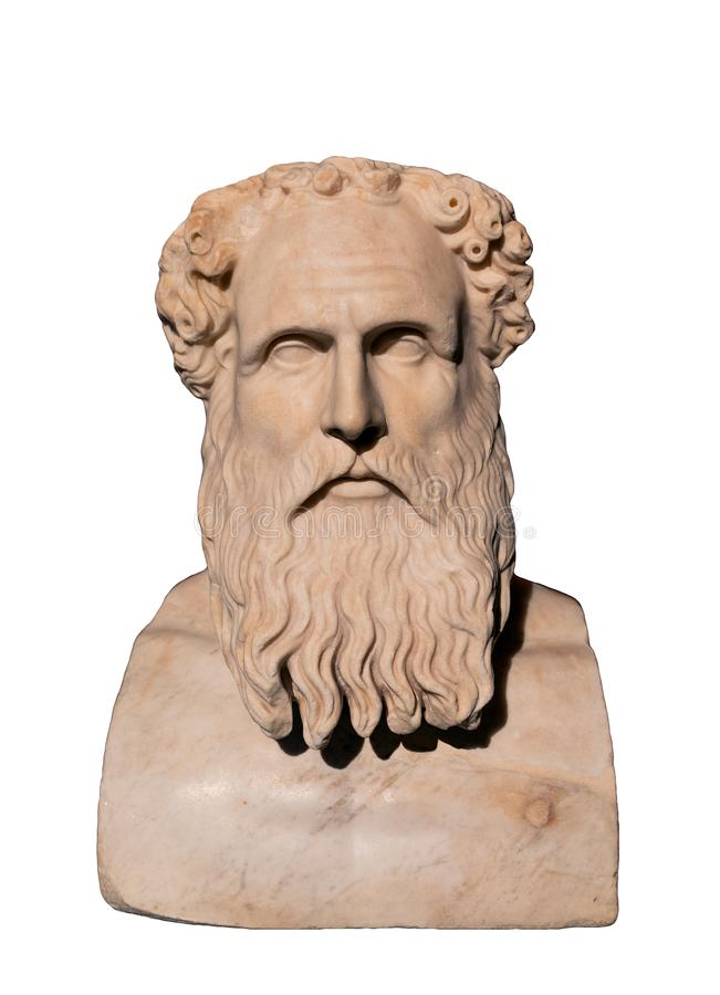 Bust of Stoic philosopher Zeno of Citium 334-262 BC. Zeno of Citium was a Hellenistic thinker from Citium, Cyprus, and probably of Phoenician descent. Zeno was stock photography