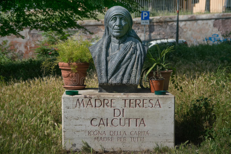Bust of Teresa de Calcuta in Rome. Italy royalty free stock image