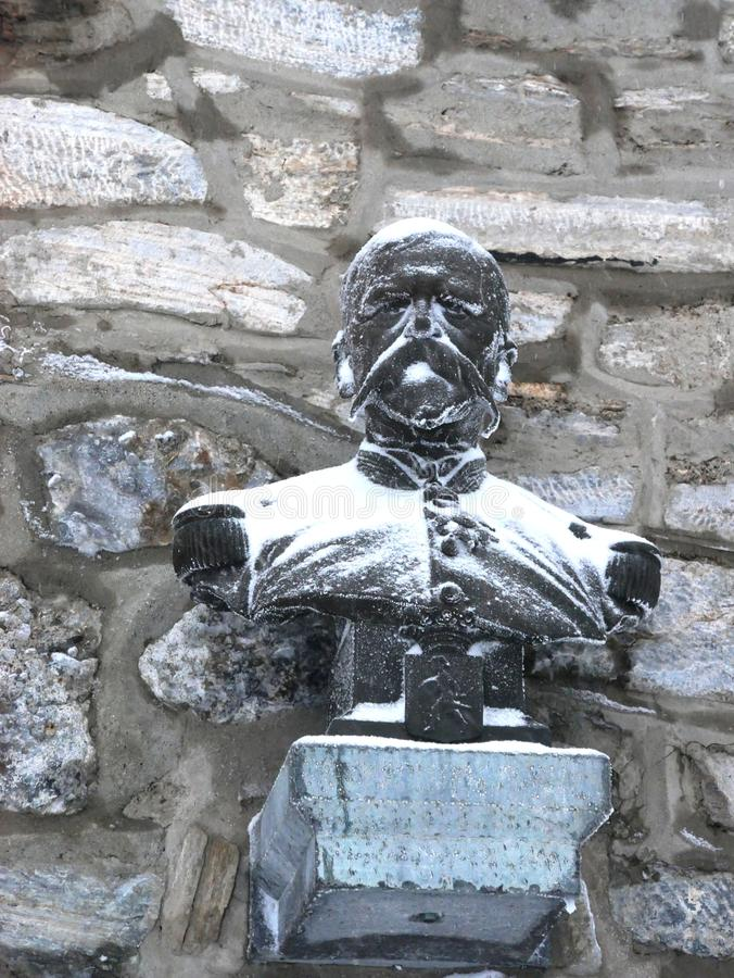 Bust till general Nansouty skapare av observatoriet för Pic du Midi royaltyfri foto