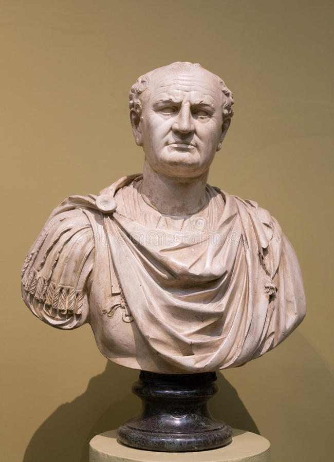 Bust of Titus Flavius Vespasian. Old Bust of Vespasian. He was Roman Emperor from AD 69 to AD 79. Vespasian founded the Flavian dynasty that ruled the Empire for stock photos