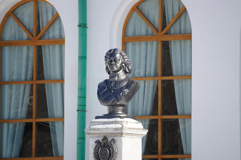 Bust of Tsar Peter the Great in the city museum of Yekaterinburg. stock images