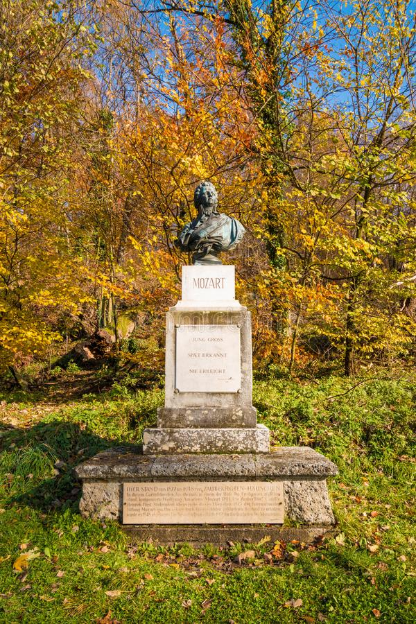 Bust of Wolfgang Amadeus Mozart in the park on Kapuzinerberg hill in Salzburg, Austria. royalty free stock photography