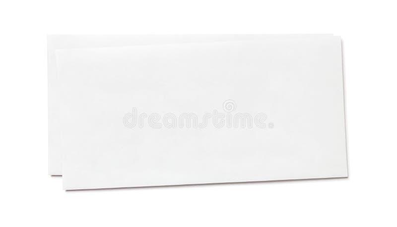 Busta bianca in bianco semplice isolata, vista frontale fotografia stock libera da diritti