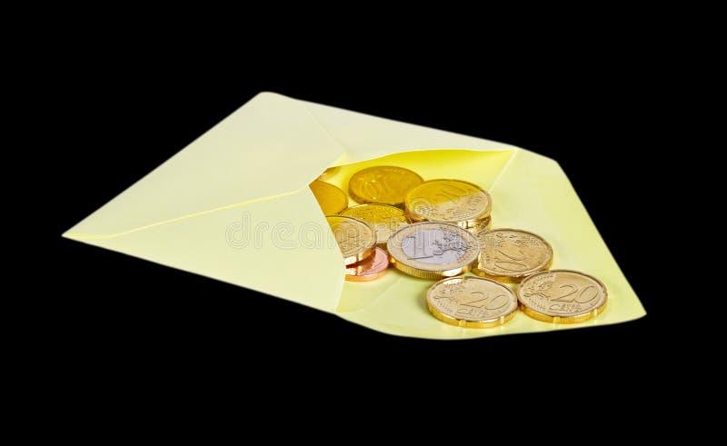 Busta con euro soldi fotografia stock