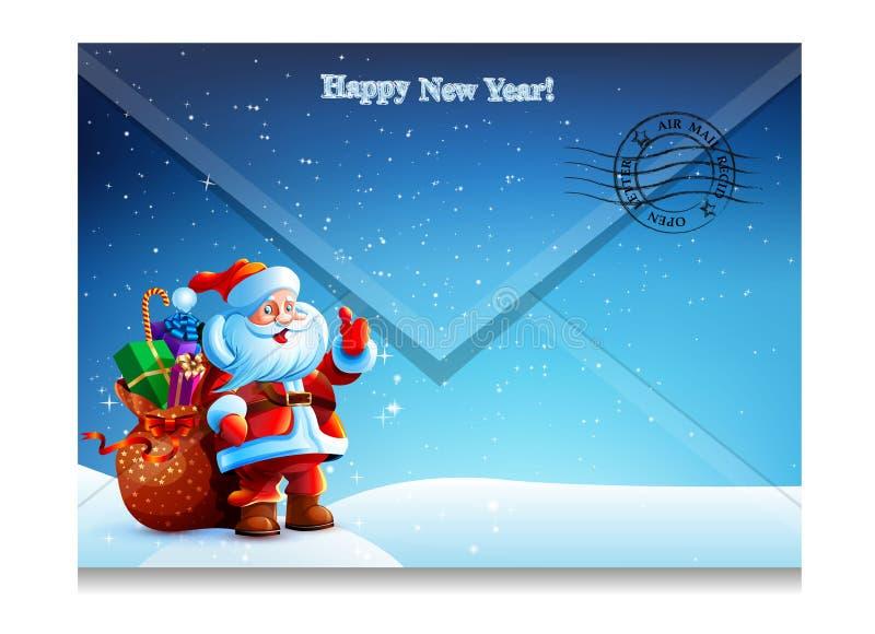 Busta con l'immagine della lettera di Santa Claus illustrazione di stock