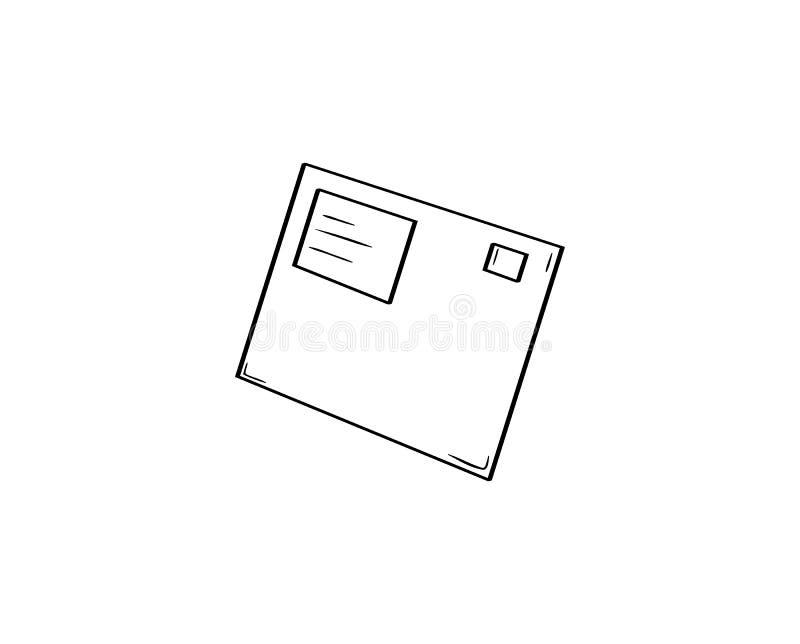 Busta con l'indirizzo ed il timbro postale illustrazione vettoriale