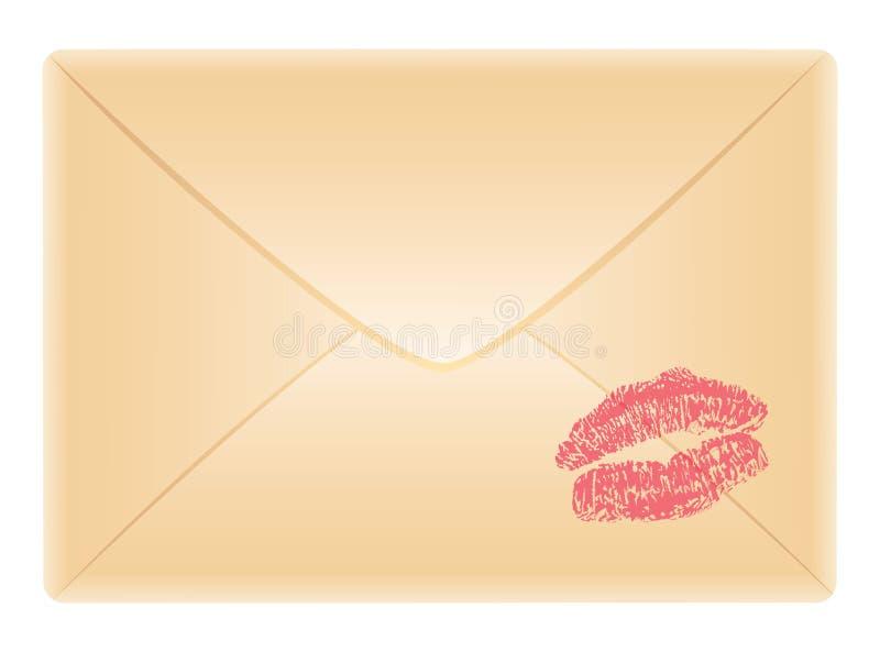 Busta con la traccia di bacio illustrazione di stock