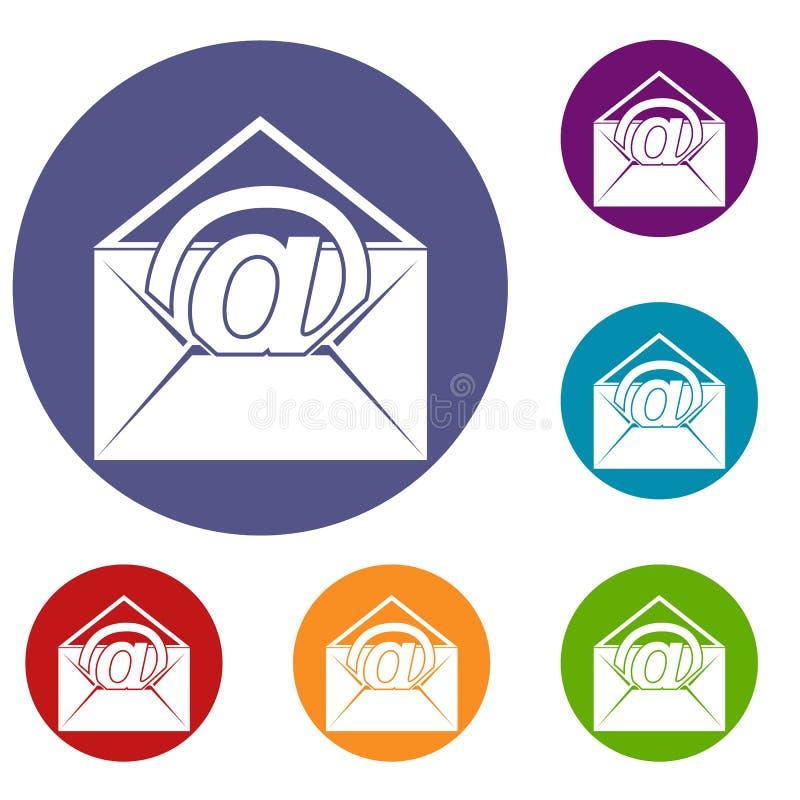 Busta con le icone del segno del email messe illustrazione vettoriale