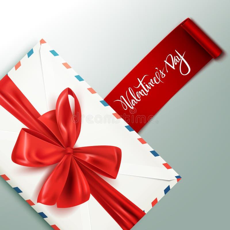Busta d'annata bianca realistica con l'arco rosso decorativo, carta felice di San Valentino, illustrazione di vettore royalty illustrazione gratis