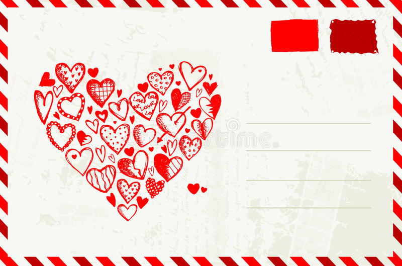 Busta del biglietto di S. Valentino con l'abbozzo rosso del cuore royalty illustrazione gratis