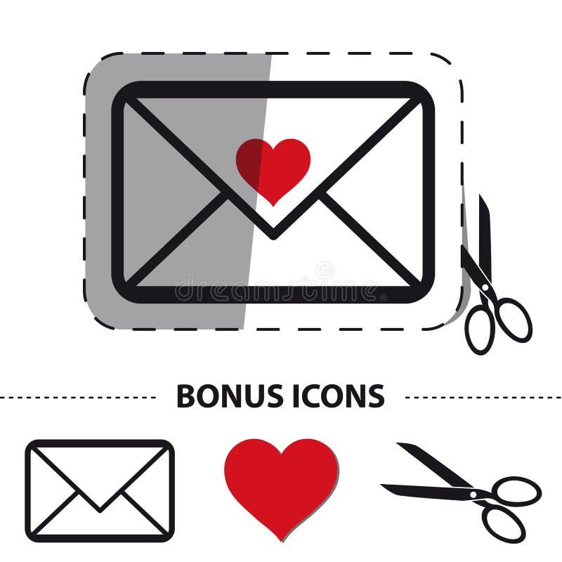 Busta di amore con la linea di taglio e di forbici - illustrazione dell'autoadesivo di vettore - icone di indennità - isolate su  royalty illustrazione gratis