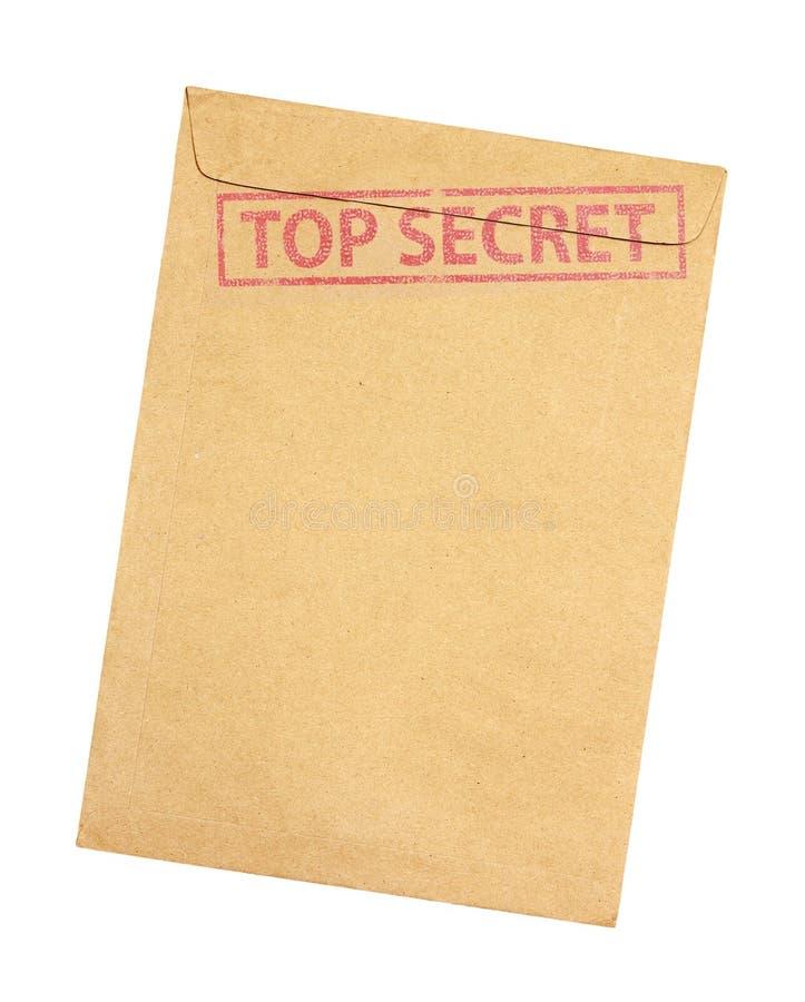 Busta di Brown con il bollo top-secret isolato su backgroun bianco immagine stock