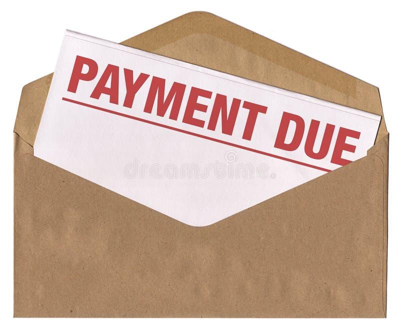 Busta - lettera dovuta dell'avviso di pagamento fotografia stock libera da diritti